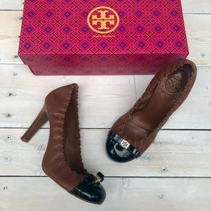 TORY BURCH Romy Cap Toe Pumps With Brown Leather
